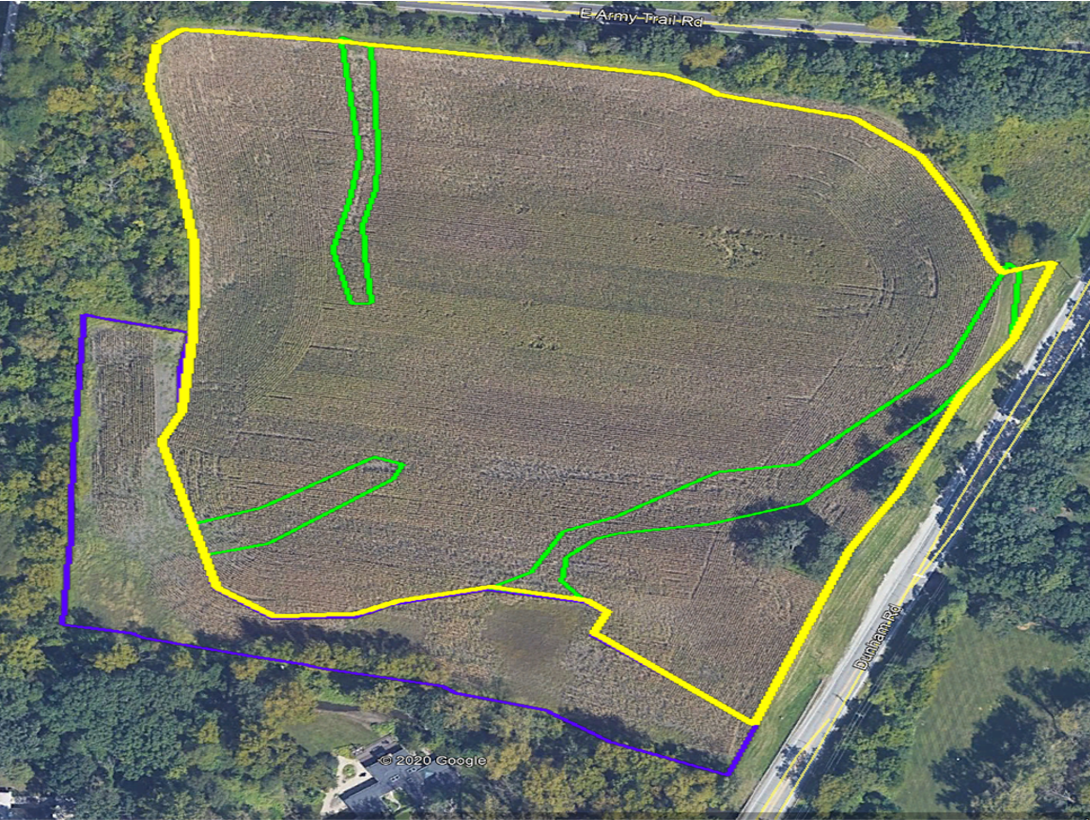Aerial of an inventory Fuller conducted for a farm site.  The inventory color-codes different hydrological communities of wet soil in blue, mesic or normal soil in yellow and swales in green.